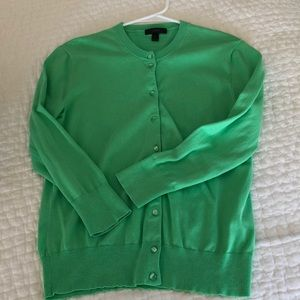 J Crew green 3/4 sleeve sweater Sz M Button front